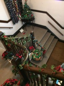 entrance stairwell decorated for Christmas
