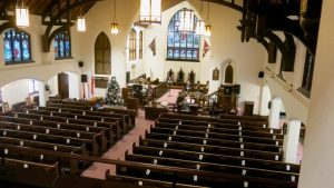 sanctuary decorated for Christmas